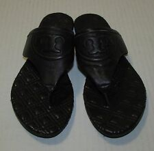 Tory Burch Fleming Quilted Leather Sandal Black Thong Flip Flop 6