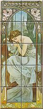 "Ceramic tile mural Art Nouveau 4.25"" Each Tile Alphonse Mucha Reproduction #001"