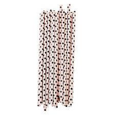 Miss Étoile Papier - Strohhalme  rosa / schwarz gepunktet 25 Stück