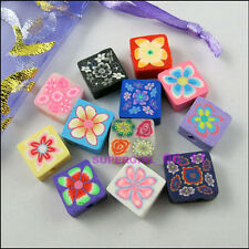 30Pcs Mixed Polymer Fimo Clay Square Spacer Beads Charms 10mm