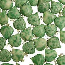 25 x GREEN JADE Gemstone PUFF HEART Love Pendants 18mm