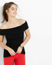Nwt express fine ribbed off shoulder sleeveless sweater black small S