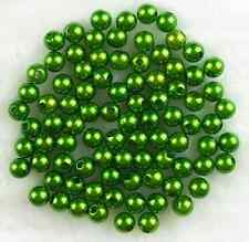 100Pcs 8mm Green Acrylic Round Pearl Spacer Loose Beads Free Ship