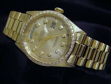 Mens Rolex Solid 18k Yellow Gold Day Date President w/Diamond Dial & 1ct Bezel