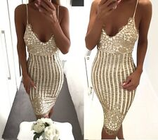 Nikkiwear Boutique Strappy Gold Sequin Stripe Bandage Midi Bodycon Party Dress
