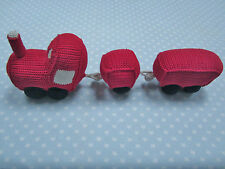 Anne Claire Petit Red Crochet Train Toy with Bell