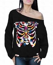 Colorful Ribcage Off the shoulder oversized slouchy sweater sweatshirt Skeleton