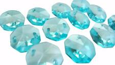 25 Light Aqua 14mm Octagon Chandelier Crystal Beads Aquamarine Antique Green