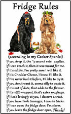 "Cocker Spaniel Dog Gift - Large Fridge Rules flexible Magnet 6"" x 4"""