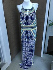 New $159 Chico's Exotic Ikat Halter Maxi Dress Navy White Aqua Sz 3 XL 16/18 NWT