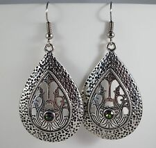 Antique Silver Metal drop Earrings Rainbow Swarovski Chaton Boho Indian Tribal