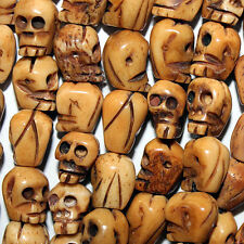 "SKULL BONE BEADS CARVED BONE SKULLS 9X10MM BEAD 15"" STRAND"