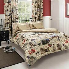 WORLD POST POSTCARD MAIL MAP DOUBLE DUVET COVER BEDDING SET