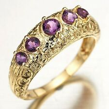 Jewelry Size 9 Round Cut Amethyst 10KT Gold Filled Fashion Women's Party Ring
