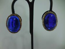 Vintage Large Blue Dome Plastic Silver Tone Clip On Earrings 1 2/8 inch