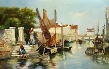 "Impressionism Oil Painting on canvas - ""Fishermen Village""   size: 36""x24"""