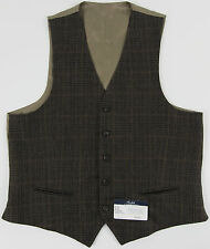 Men's RALPH LAUREN Olive Brown Wool Plaid Suit Dress Vest 40L 40 LONG NWoT NEW