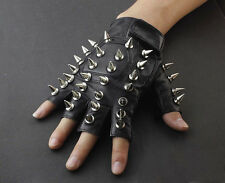 Men Punk Biker Driving Motorcycle Dance Full Spike Leather Fingerless Gloves