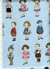 blue hill ~ AUNT LINDY'S LITTLE PAPER DOLL  ~ fabric sibling arts art deco dolls