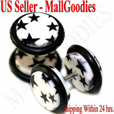 1277 Fake Cheater Illusion Faux Ear Plugs White & Black Stars Design 00G 10mm