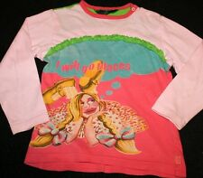 Oilily I Will Go Places Coral Pink Long Sleeve Graphic Shirt Top Girl Sz 98 3-4