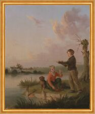 The Young Anglers Edmund Bristow Kinder Angeln Hund See Ufer Rute B A2 01473