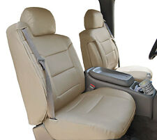 CHEVY SILVERADO 2000-02 BEIGE S.LEATHER CUSTOM MADE FRONT SEAT & 2ARM COVERS