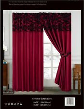 LUXURY Damask Curtains Pair Of Half Flock Pencil Pleat Window Curtains