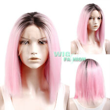 """14"""" Medium Straight Black Mixed Pink Ombre Lace Front Synthetic Hair Wig"""