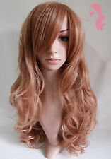 W6 Strawberry Blonde Light Brown Full Wig Wavy Skin Top