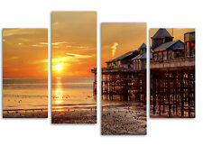 "Blackpool pier sunset/set of 4 new canvas split prints/  32""x 20"""