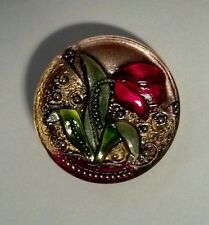 """Red Tulip Flower Button Hand Painted Czech Lacy Glass Shank Button 1-1/4"""""""
