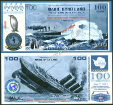 NEW PAPER 7.5.15 MARIE BYRD LAND 100 PENGUINO LUSITANIA SPECIMEN FANTASY NOTE!