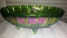 Carnival Glass Bowl Fruit Indiana Footed Oval Blue Green Iridescent
