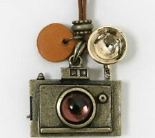 Cute Camera Necklace Leather Boho Style Fashion Photography Travel UK Seller
