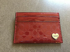 NWT Coach Liquid Gloss Red / Burgundy  Patent Leather Card Case F62405