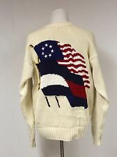 Vintage Tommy Hilfiger Double Flag Mens Size S Small Cream Knit Sweater Rare