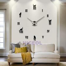 DIY Large Wall Clock 3D Mirror Surface Sticker Metal Big Watches Home Decor Gift