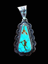Trangular Turquoise and Sterling Pendant with Scallops - Navajo Handmade