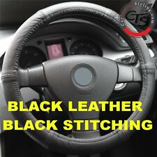 VW GOLF MK5 MK6 MK7 PLUS TDI FSI BLACK ITALIAN LEATHER STEERING WHEEL COVER NEW