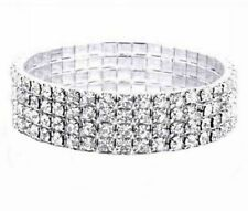 4 Rows Crystal Rhinestone Party Wedding Bridal Elastic Bracelet Wristband S014