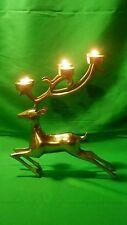"""Vintage Brass Reindeer Deer 14"""" Candle Holder Candelabra Tea Light 6 Point"""