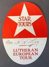 1920's STAR TOURS LUTHERAN EUROPEAN TOUR ocean liner Luggage travel label