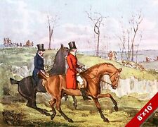 ENGLISH RIDERS FOX HUNT HORSE EQUESTRIAN HUNTING ART PAINTING REAL CANVAS PRINT