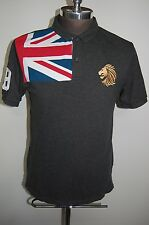 New GIORDANO Tapered Fit Polo Shirt Embroidered Lion w/UK Flag #18 Men's XL