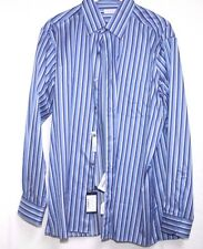 Ermenegildo Zegna UA12N Blue Pin Striped Cotton Sport Shirt  Sz XL NWT $395