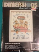 Cross Stitch Mini Kit New~ Baathroom in Use! Privacy Please! Lambs in Tub