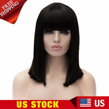 Women's Neat Bangs Medium Straight Black Cosplay Shoulder Length Bob Party Wigs