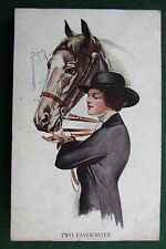BARBER - Horse & Lady 'Two Favourites' - vintage 1916 Alpha art postcard (3503)