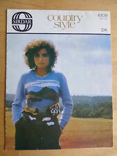 Vintage Knitting Pattern for woman's sweater with Countryside Scene d.k
